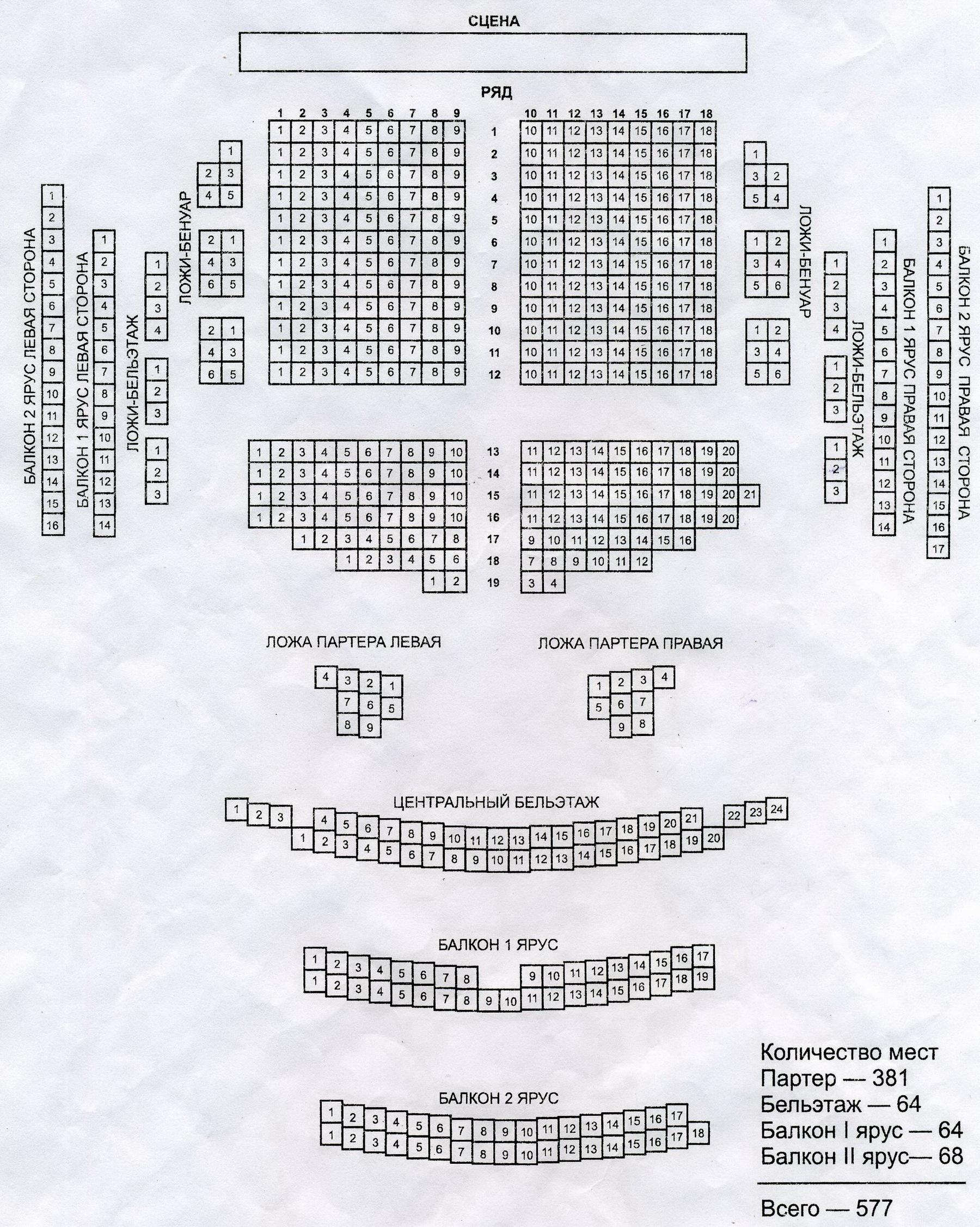 Схема зала им.горького
